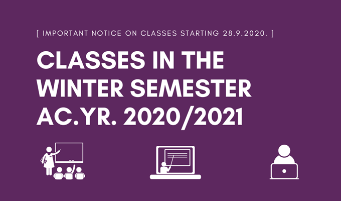 Classes in the winter semester of AY 2020/21