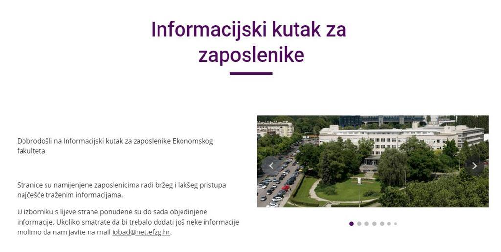 Informacijski Kutak Za Zaposlenike Efzg Ekonomski Fakultet Zagreb
